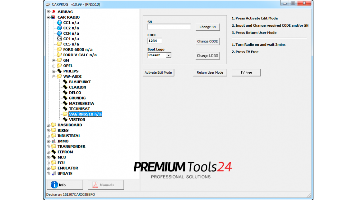 Adapter for RNS510 navigation decoding tool by Navi diagnostic