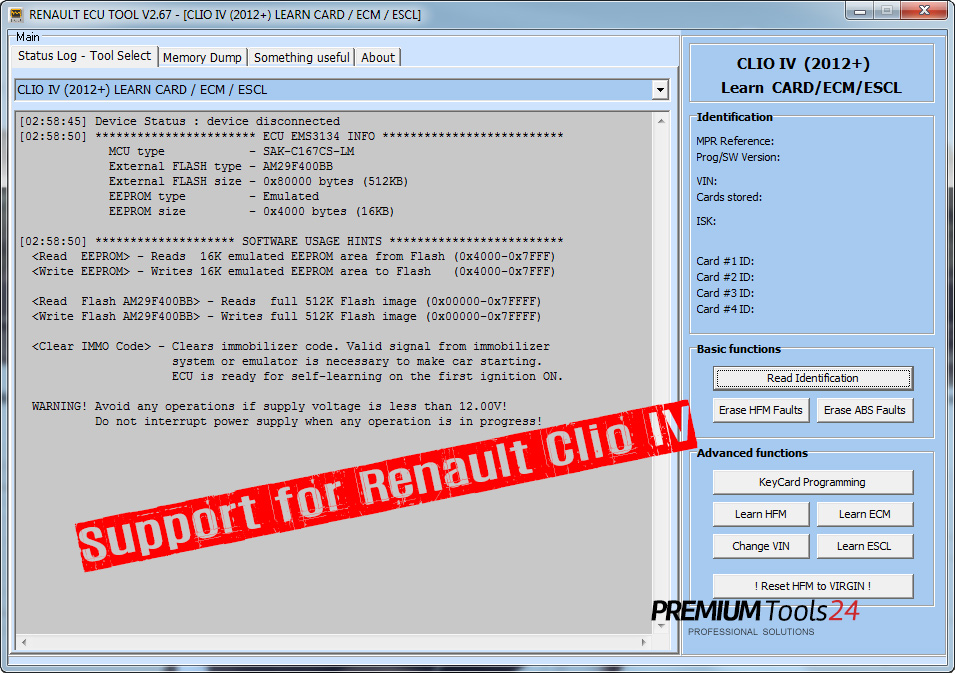 Support for Renault Clio IV for Renault ECU Tool has been released