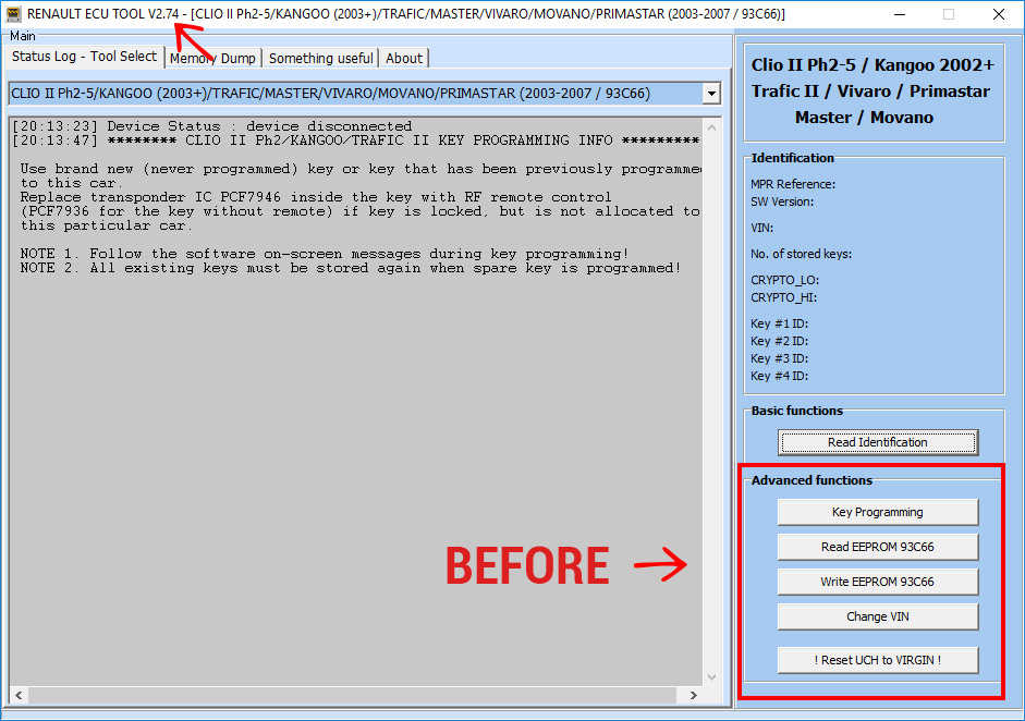 Software Update for Renault ECU Tool